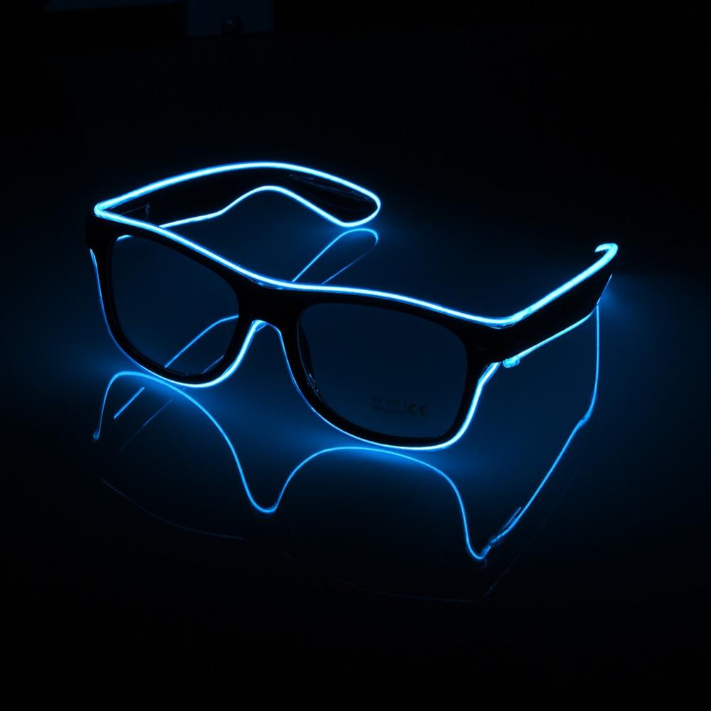 Piscando óculos el fio led óculos de incandescência fontes festa iluminação novidade presente brilhante luz festival brilho óculos de sol