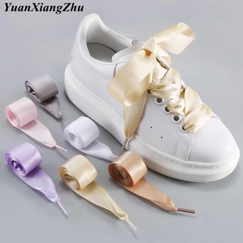 1Pair 2 CM Width Satin Shoe laces Flat