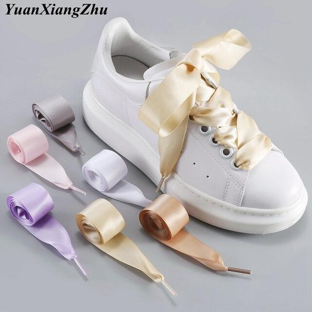 1 çift 2 CM Genişlik Saten Ayakkabı bağcıkları Düz ipek kurdele Ayakabı Boots Sneakers Ayakkabı Bağı 19 Renkler Uzunluğu 80CM 100CM 120CM S-1