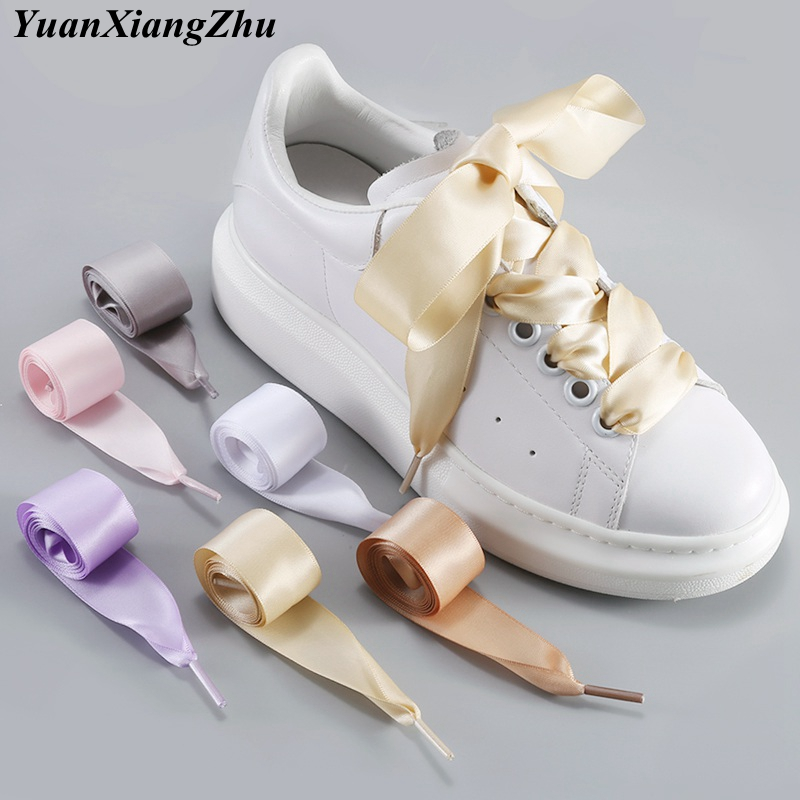 1Pair 2 CM Width Satin Shoe Laces Flat Silk Ribbon ShoeLaces Boots Sneakers ShoeLace 19 Colors Length 80CM 100CM 120CM S-1