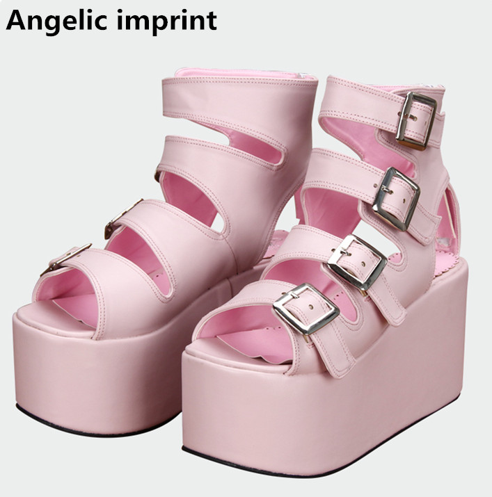 Angelic imprint 새로운 모리 소녀 로리타 신발 여자 코스프레 펑크 신발 레이디 하이힐 웨지 펌프 여성 드레스 파티 샌들 10 cm-에서하이힐부터 신발 의  그룹 1