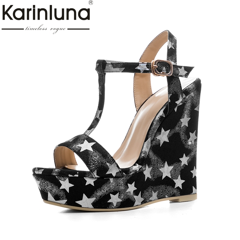KarinLuna new size 34-41 platform brand shoes woman sexy wedges high heels t-strap women summer shoes sandals woman footwear euro size 34 44 pu woman 15 and 17cm high heels platform sandals nightclub woman high heeled birthday party shoes for t station