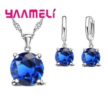 Big Discount Women Fashion Jewelry Sets 925 Serling Silver Crystal Necklace Pendant Earring Free Shipping(China)