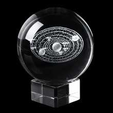 6CM Laser Engraved Solar System Ball 3D Miniature Planets Model Sphere Glass Globe Ornament Home Decor Gift for Astrophile(China)