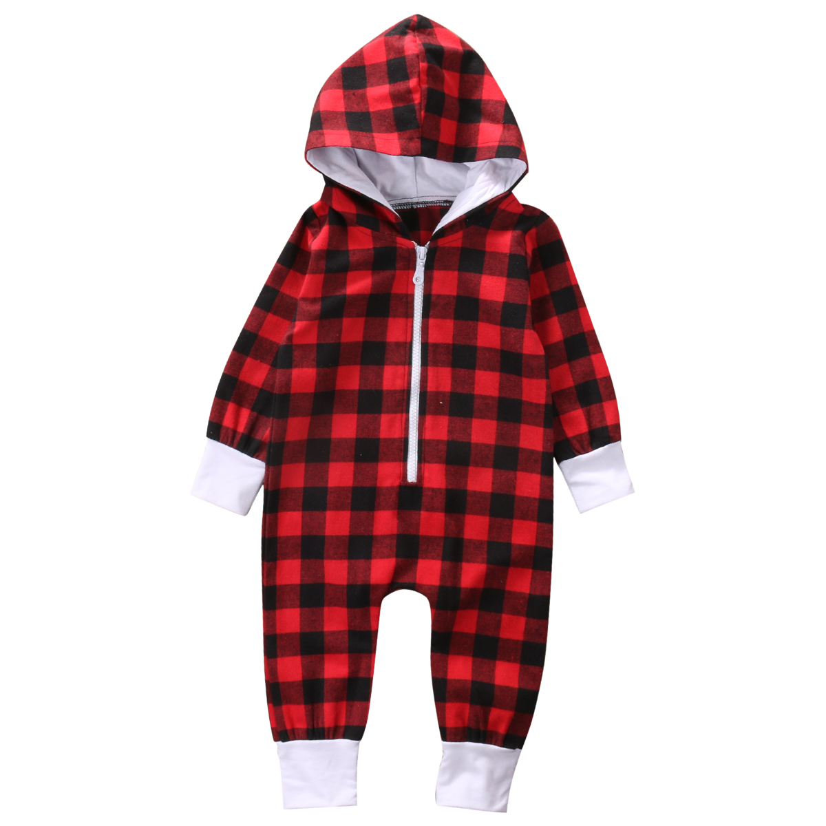 New Toddler Infant Baby Boy Girl Hooded Long Sleeve Red Plaid Zipper Romper Jumpsuit Clothes Outfits New baby girl 1st birthday outfits short sleeve infant clothing sets lace romper dress headband shoe toddler tutu set baby s clothes
