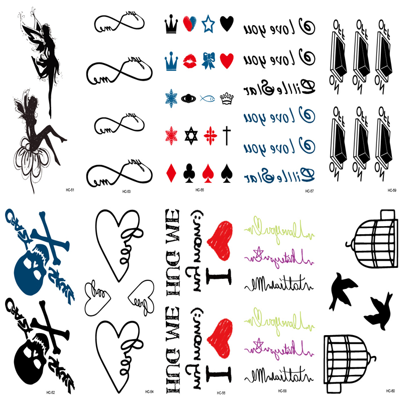 10pcs Tattoo Sleeve Cute Fake Tattoo Body Art Painting Tatoo Sticker Women Sexy Wrist Temporary Tattoo Black Geometric Patterns ...