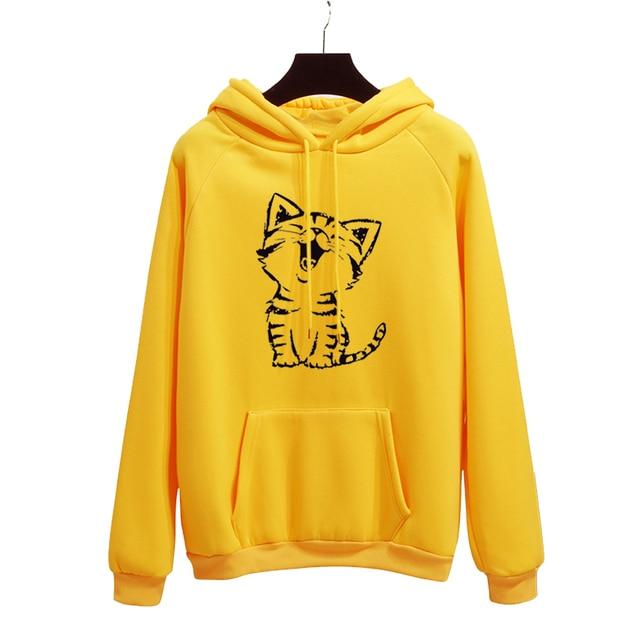 Gato feliz Harajuku sudaderas con capucha mujer Otoño Invierno Oficina  señora Pullover amarillo gruesa suelta Moletom 1f07f716c26