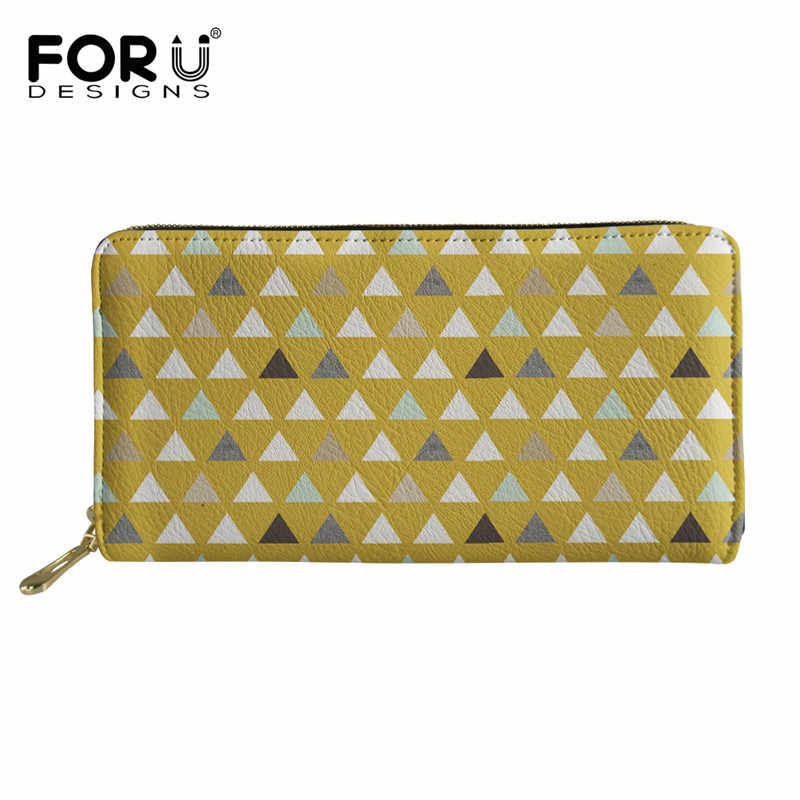 FORUDESIGNS Mod Mint Triangles Women Leather Wallet Long Coin Purses Carteras Mujer Ladies Purse sacoche homme 2018 Clutch Bag