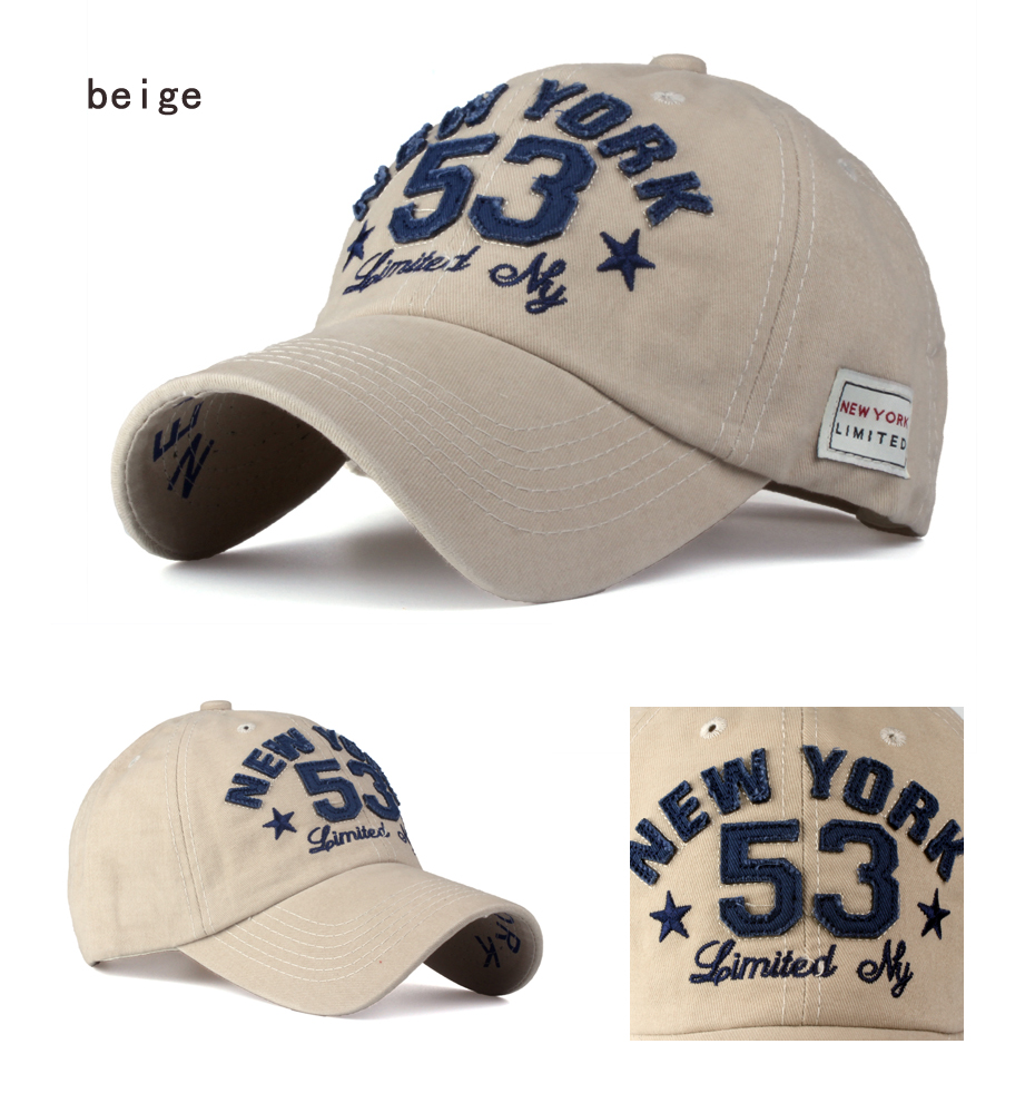 Old Style New York Lettering Pre-washed Denim Baseball Cap - Beige Cap Detail Views