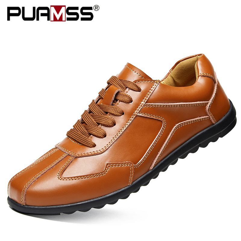 2019 Autumn New Men Csual Shoes High Quality Genuine Leather Men Shoes Lace-up Breathable Soft Flats Formal Shoes Men Sneakers