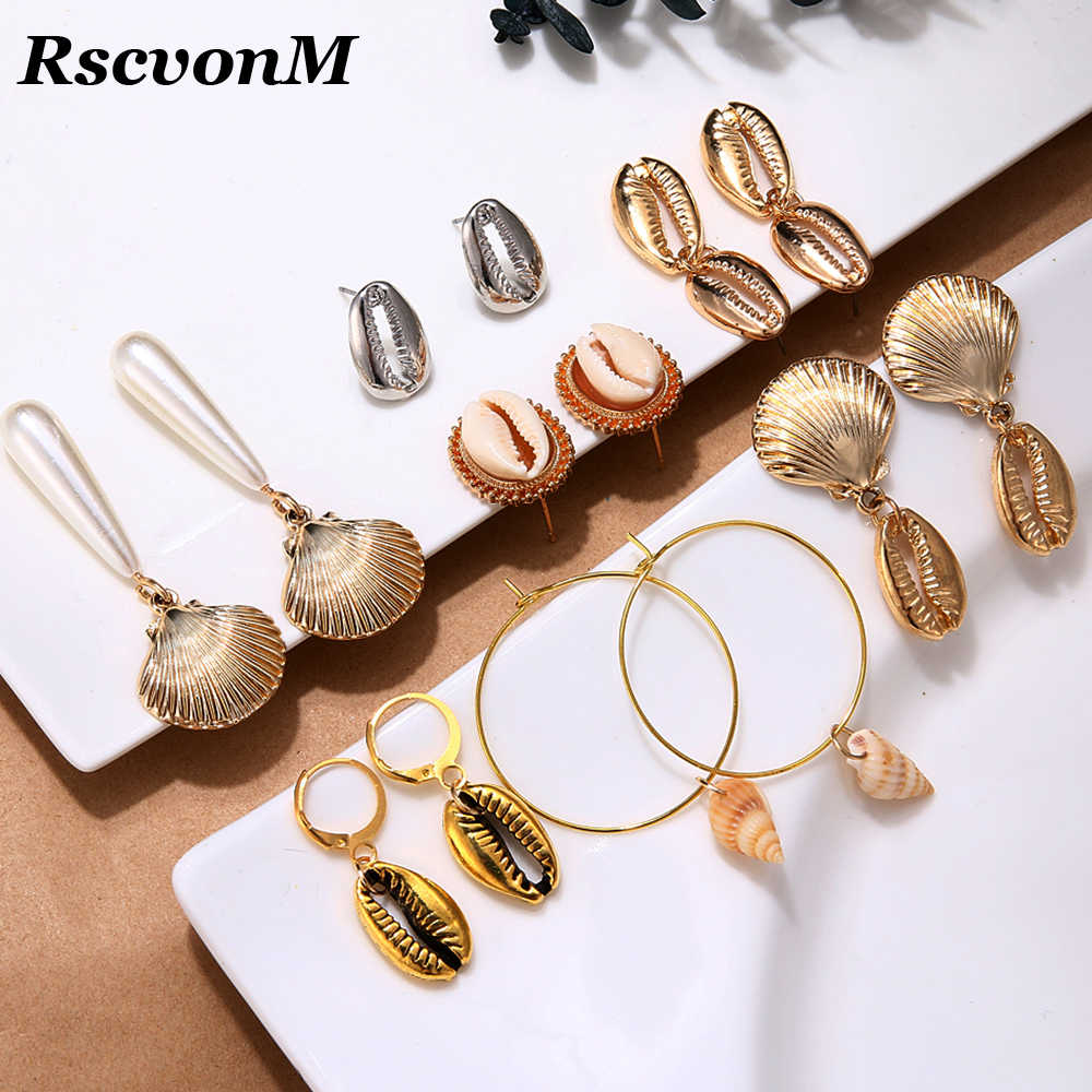New Exaggerated Cowrie Shell Earrings Women Gold Color Geometric Irregular Starfish Conch Statement Brincos 2019 Fashion Jewelry