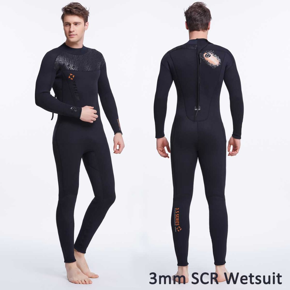 3mm Neoprene Men's Wetsuit Full Body Back Zipper Long Sleeve SCR Suit Swim Scuba Diving Surfing Snorkeling Cool Black Jumpsuit