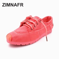 ZIMNAFR BRAND WOMEN CASUAL SHOES FASHION GIRL CANVAS SHOES FLATS LACE UP CHINESE TRADITIONAL CRAFT
