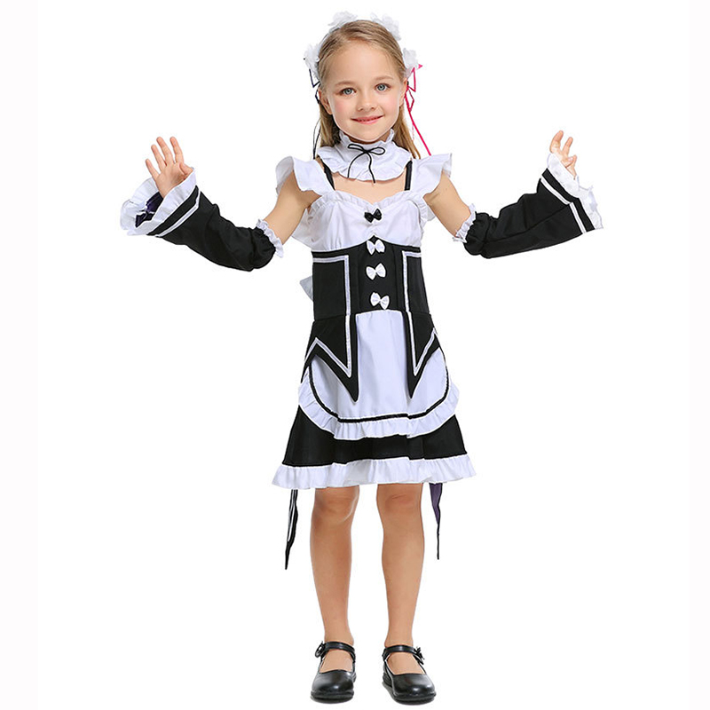 Black & White Cute Lolita Maid Costume Kids Sexy Cosplay Costumes Children Halloween Outfits Girl Fancy Dress Carnival Uniform