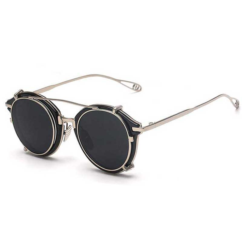 2016 Nouvelle De Luxe Steampunk lunettes de Soleil Hommes Vintage Ronde En  Métal Clip sur Lunettes Femmes Hippie Rétro Cool Lunettes Cercle Ombre D332  dans ... ab4cf1173fb2