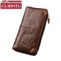 GUBINTU Genuine Leather Công Suất Lớn Thẻ Giữ Chiếc Ví cho Người Đàn Ông Thiết Kế Purse Dài Ví Ly Hợp Túi Xách cho iphone 8/X/8 Cộng Với