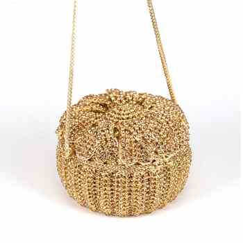 Golden Crystal Box Evening Bag Women Designer Cake Diamond Clutch Bag Female banquet Puse Party Bag Day Clutches Handbags SC531