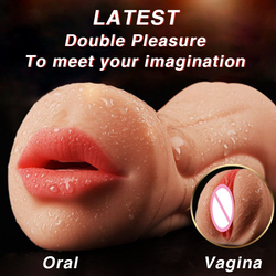 Sex Shop Double Head Pussy Real Artificial Vagina Oral Sex Toy Male Masturbators Massage Cup adult Pussy Oral Sex Toys for Men.