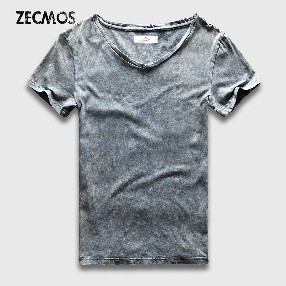 Street Fashion T-Shirt Men Slim Fit V Hals Marmor Svart Wash T-shirts För Män Tappning Bomull Top T-shirts Male Acid Heavy Washed