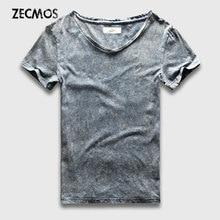 Street Fashion T-Shirt Men Slim Fit V Neck Marble Black Wash T Shirts For Men Vintage Cotton Top Tees Male Acid Heavy Washed