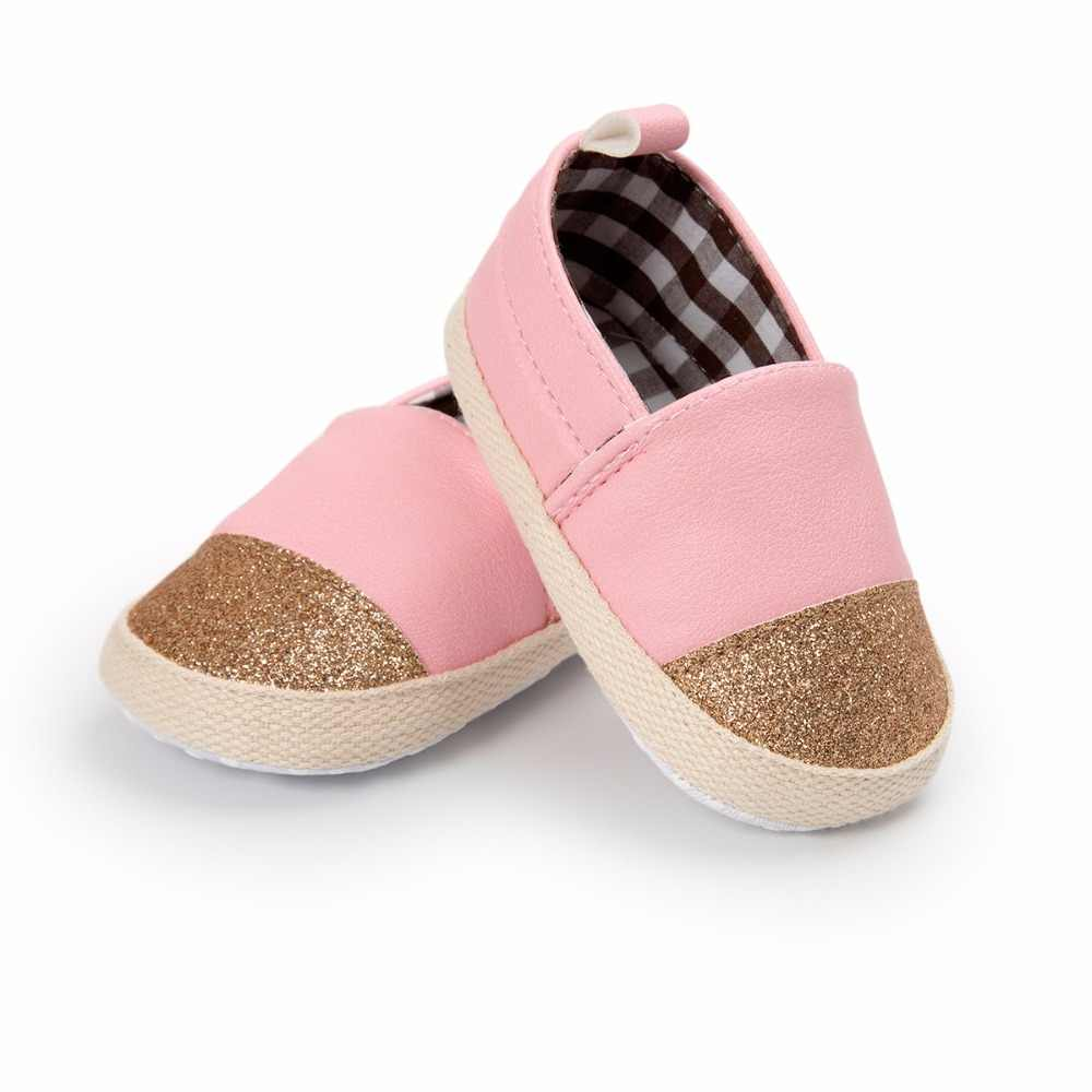 New  4 colors Baby slipers Gold glitters first walkers Anti-slip Pu leather crib Girls Boys Sneakers Casual Baby shoes