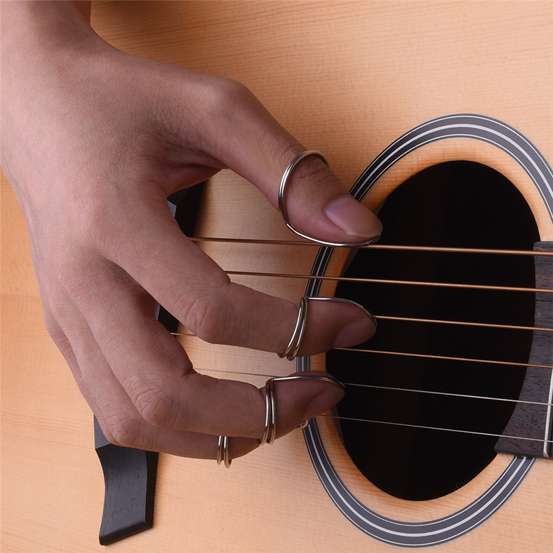 Guitar Picks Pickup Guitar Bass Part Butterfly Finger Picks Fingerstyle Thumb Plectrums silver Picks Fingerstyle Plectrum 4 Pcs mms02 5 key guitar bass piano hand finger exerciser trainer grip orange black