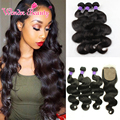 Malaysian Virgin Hair With Silk Base Closure Sunlight Human Hair With Closure 3 bundle Deals Malaysian Body Wave Hair Extension
