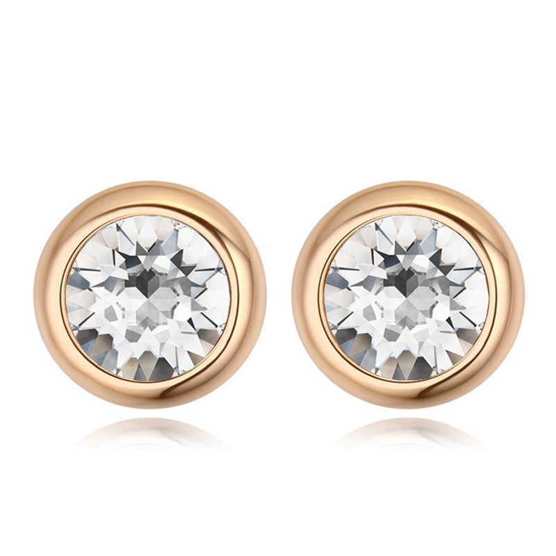 BAFFIN Original Round Crystals From Swarovski Stud Earrings For Women Party Accessories Pendientes Gold Color Wedding Jewelry