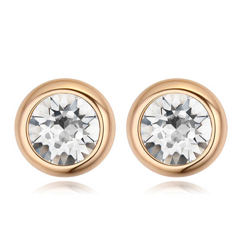 6841521dd BAFFIN Original Round Crystals From Swarovski Stud Earrings For Women Party  Accessories Pendientes Gold Color Wedding