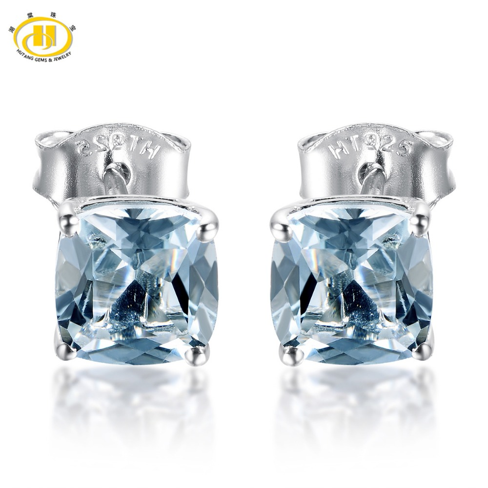 HUTANG 1.817ct Natural Aquamarine Cushion 6mm Stud Earrings Solid 925 Sterling Silver Gemstone Fine Jewelry Earring Womens Gift