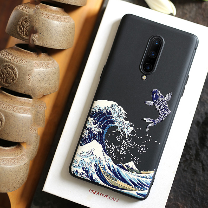 for <font><b>OnePlus</b></font> 7T Pro 7 Pro 7 <font><b>6</b></font> 6T <font><b>Case</b></font> <font><b>3D</b></font> Relief Embossed Matte Soft Full Cover LICOERS Official <font><b>Case</b></font> for Oneplus7 1+7 Funda Shell image