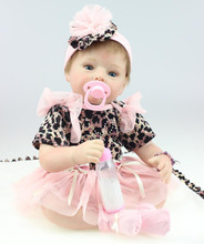 22″ New style Silicone Reborn Baby Lifelike Girl Doll with Tutus Kits Kids Stuffed Toys Great Gifts for Women Decorations