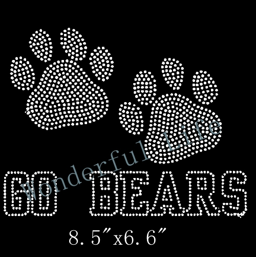 Lowest price go bears paw print Rhinestone Motif Transfer Design iron on free  shipping color clear 33ae5f8d4e71