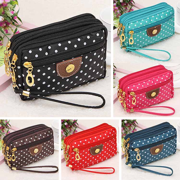 Hot Sale Lady Purses Women Wallets Short Handbags Canvas Dots Zipper Moneybags Clutch Coin Purse Wallet Cards Keys Bags Burse