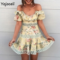 Yojoceli 2019 summer jacquard lace dress women hollow out crochet mini dress off shoulder female vestidos party club dress