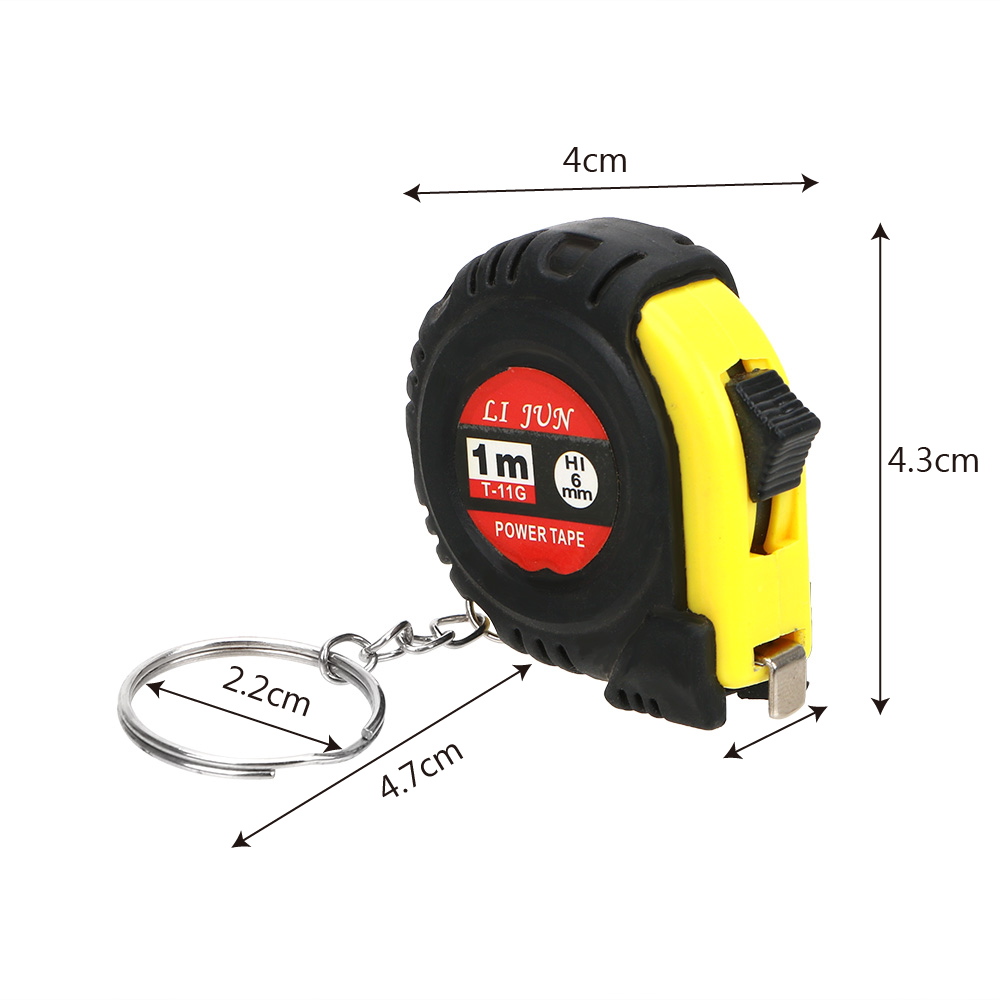 1pc 1m/3ft Easy Retractable Ruler  Portable Pull KeychainTape Measure Tailor Tool Gauging Tools Tape