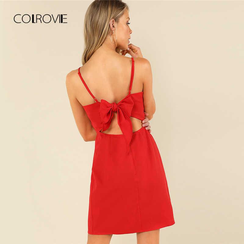 COLROVIE узел сзади Твердые Cami вечерние платье 2018 новое платье без рукавов с бантом летнее платье для девочек красное платье с бантом, платье на бретельках женское платье