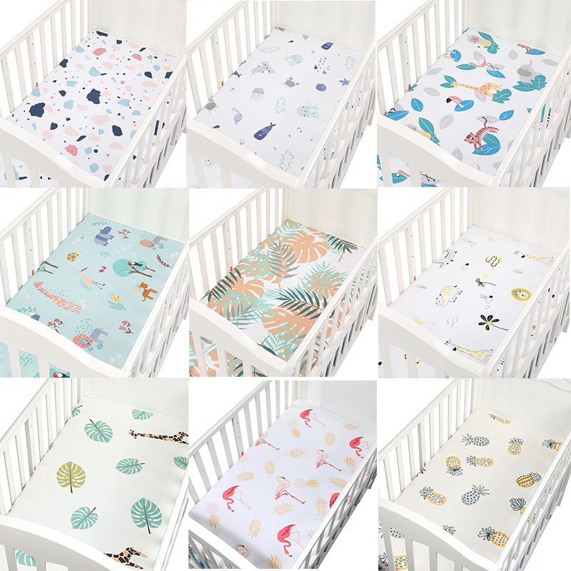 Baby Crib Fitted Sheet 100% Cotton Soft Baby Bed Mattress Cover Cartoon Newborn Infant Bedding For Cot Size 130*70 Cm
