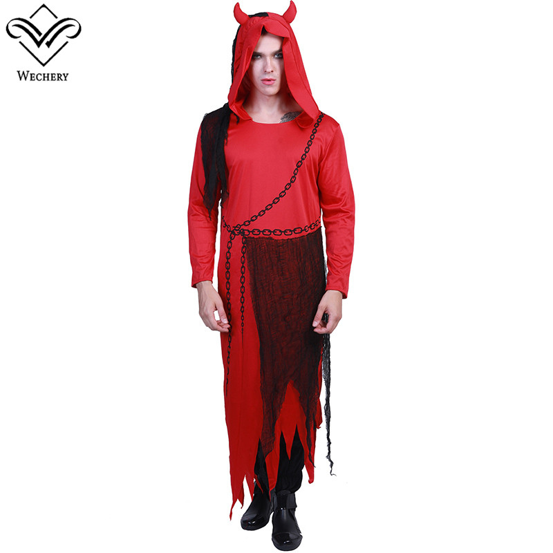 Wechery Unisex Costume Red Demon Long One Piece Halloween Cosplay Costumes with Hat Large Size Evil Cosplay Clothing