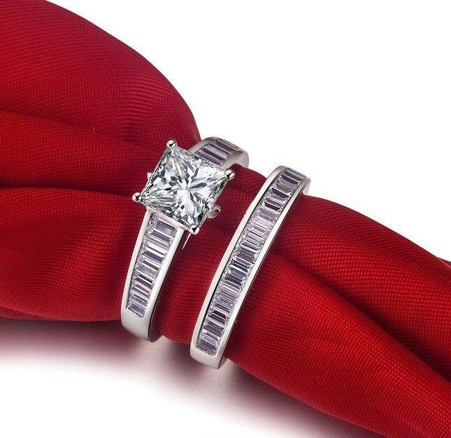 Bague en diamant fin 2 CT SONA pour femmes 925 bijoux fins de fiançailles en or blanc 18 K couverture deux anneaux-in Anneaux from Bijoux et Accessoires    1