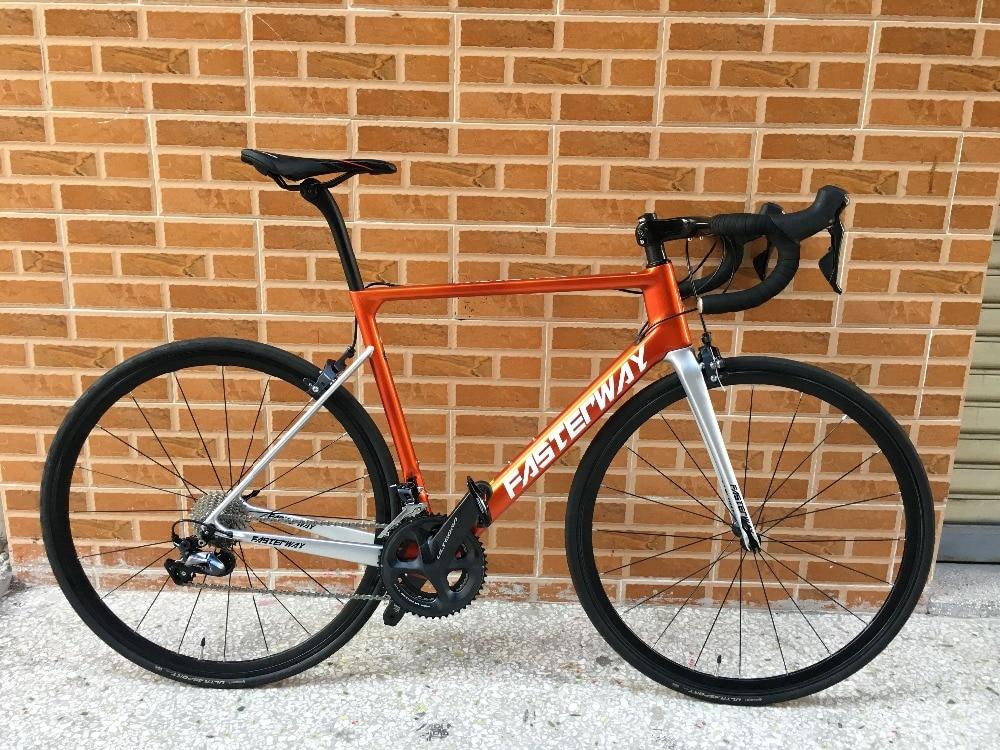 TAIWAN Brand FASTERWAY Burnt Orange With Sliver Carbon Road Complete Bike 22 Speed R8000 Groupset Bicycle D Brake 49/52/54/56/58