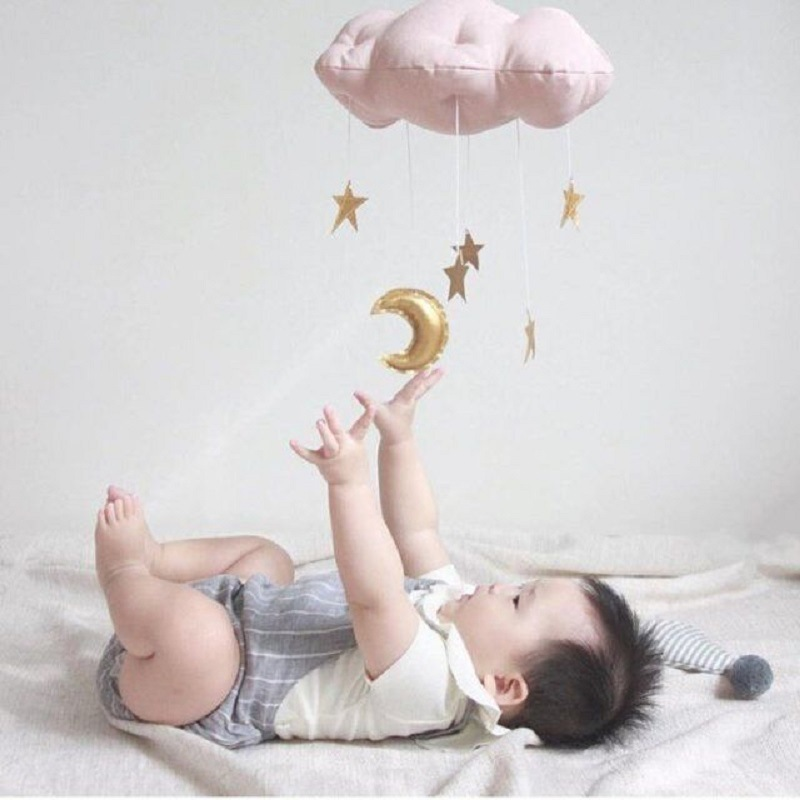 Lovely Baby Mobile Cotton Moon And Star Tent Wall Hanging Decor Toys Nordic Style Nursery Decor Photo Props Kids Bedroom Decor