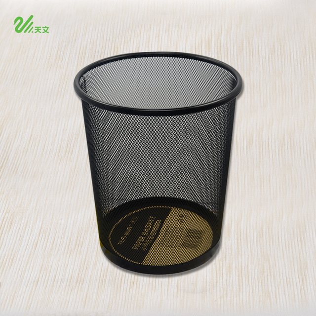 1pcs Small Fine Iron Mesh Metal Trash Round Office Waste Paper Basket 2910