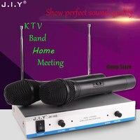 JIY Professional Wireless microphone Dual Wireless Cordless Dual Channel Microphones mixer audio Mic For KTV DJ Karaoke Meeting