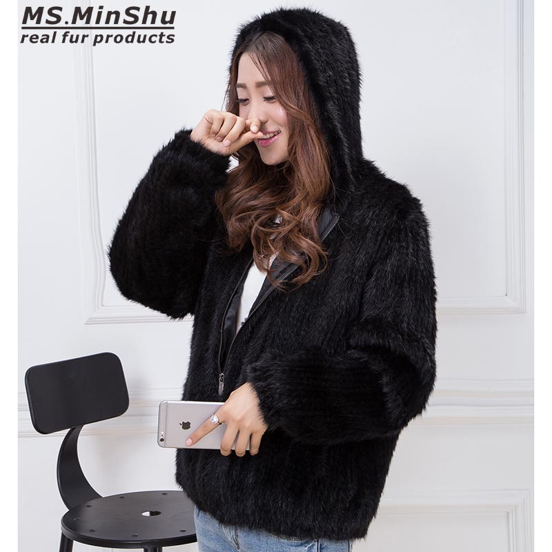 Ms. minshu ручной вязки из натуральной норки пальто Женщины Меховая куртка зимняя куртка с капюшоном 100% натуральный мех норки Бесплатная достав