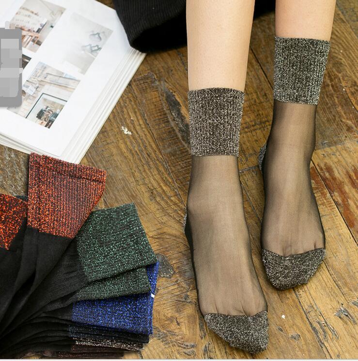 Bee 2019 Transparent Flanging 1Pair Embroidery Glitter Shiny Socks Tube Socks