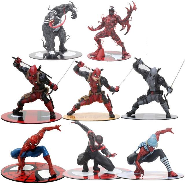 Deadpool Marvel Super Heroes Avengers Spiderman Venom Carnificina ARTFX + SATATUE Collectible Modelo Toy Figura
