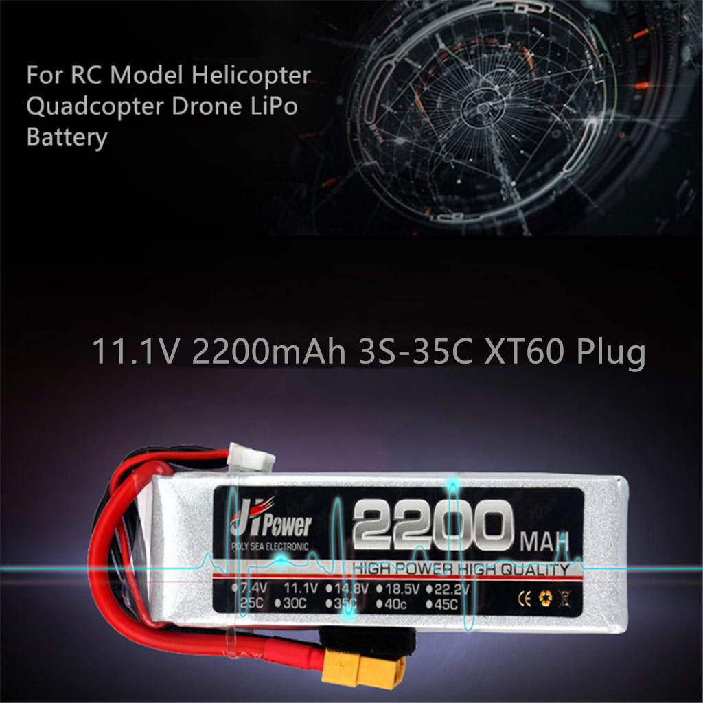 JHPower 11.1V 2200mAh 3S-35C Battery XT60 Plug For RC Modle Quadcopter Drone 4 Channels Rechargeable lithium polymer battery(China)