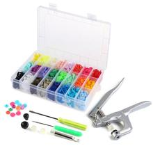 Prendedor Alicate profissional & 360pcs T5 Poppers Encaixe Kit de Botões De Plástico Snaps Botões DIY Ferramenta de Costura e Artesanato