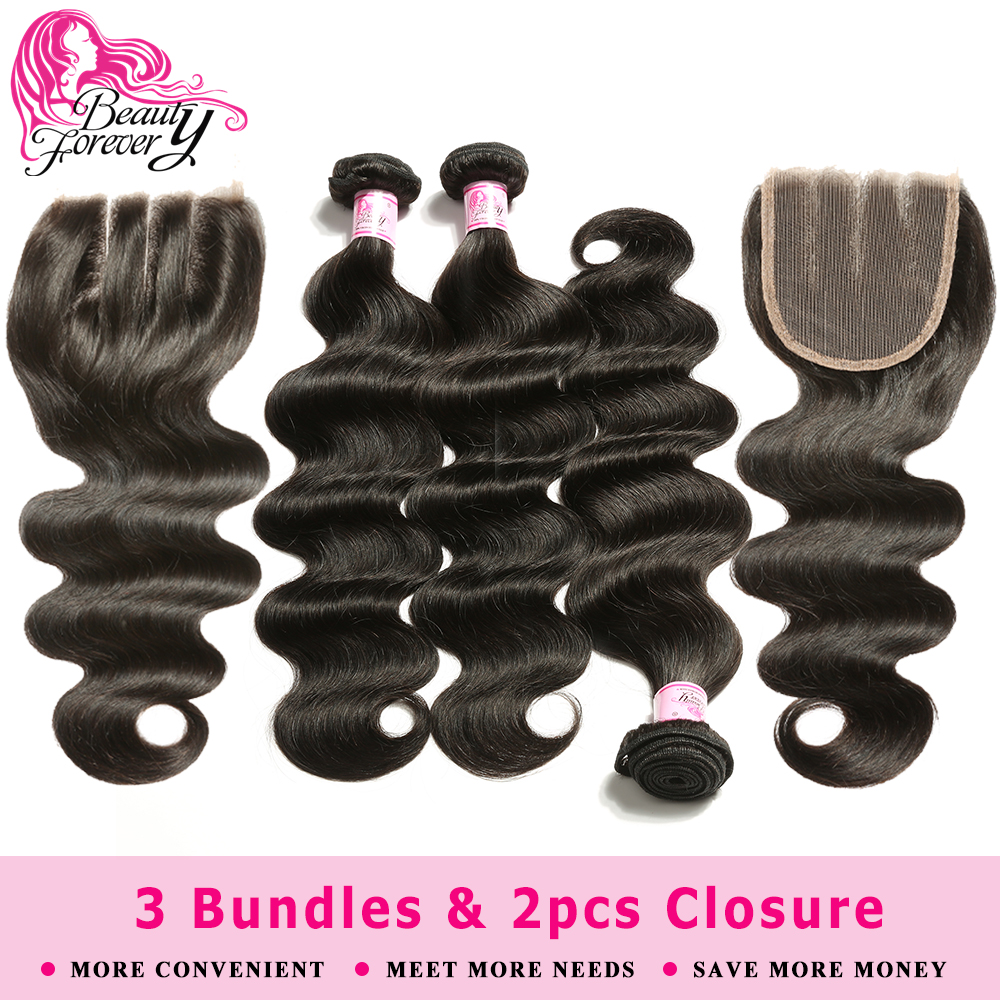 Beauty Forever 3 Bundles Body Wave Hair Weaves With 2pcs Closures 4*4 Remy Peruvian Human Hair Bundles With Closure